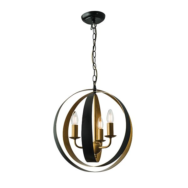Impressive 3 light pendant formed by matt black circles creating a globe shape. The inners are finished in gold gloss paint, and the height is adjustable at time of fitting. This light is dimmable and suitable for use with LED lamps. Also available in a larger white version|Compatible with LED lamps|Dimmable|Complete with fixing accessories|Matt black & aged gold|Constructed from steel