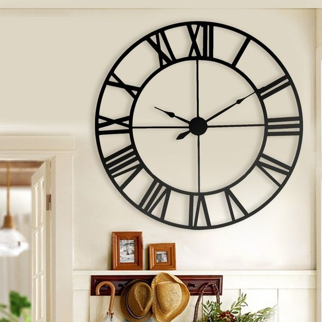 New 80 Cm Modern 3d Large Retro Black Iron Art Hollow Wall Clock Roman Numerals Home Decor Review Kitchen Wall Clocks Roman Numeral Wall Clock Black Wall Clock