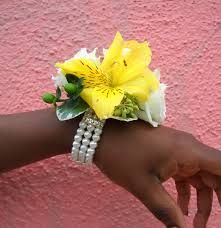 hit in this wrist corsage.