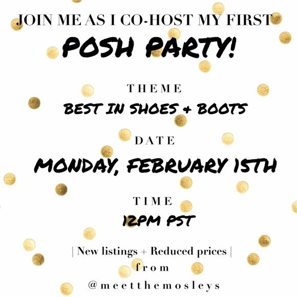 Join me as I co-host my first Posh Party! BEST IN SHOES & BOOTS. Co-hosting with @absalerno Monday, February 15, 2016 at 12PM PST. Tag me in your listings (up to 3) to be considered for Host Picks. New listings will be added to @meetthemosleys and prices will be reduced for a limited time! See you there! Steve Madden Bags