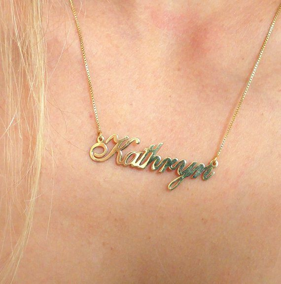 NAME PLATE NECKLACE 14K YELLOW GOLD PERSONALIZED MINI NAME PLATE SOLID 14K GOLD