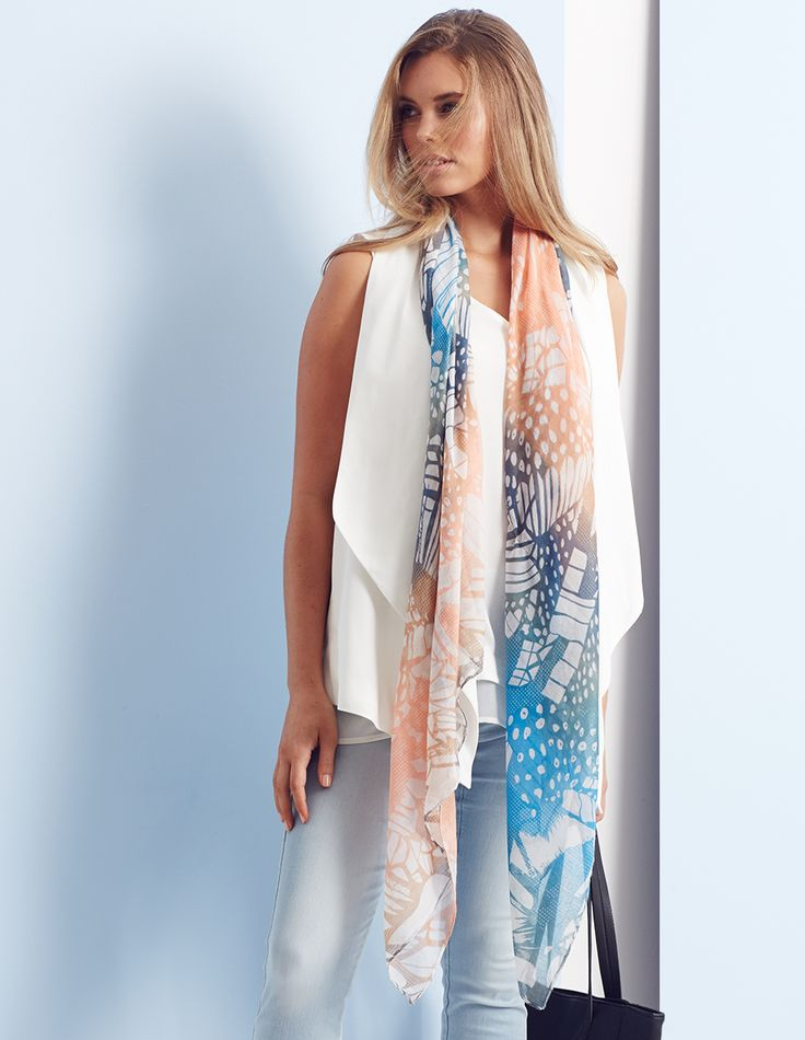 THE PRINTED SCARF / Add a splash of colour to a chic all-white look with our oriental inspired butterfly print scarf.