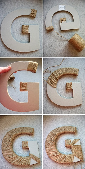 """Twine Covered Letter. Need to find an """"M"""". Hobby Lobby?!"""