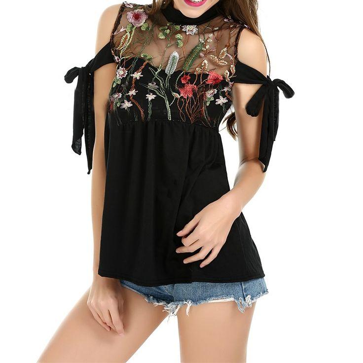 Sexy 2017 European Women Turtleneck Sleeveless Blouses Fashion Embroidery Mesh Patchwork Transparent Bow Shirts Summer Blusas #Affiliate
