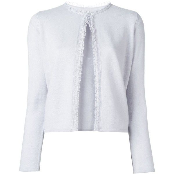 Armani Collezioni frayed detailing cardigan ($420) ❤ liked on Polyvore featuring tops, cardigans, blue, blue cardigan, cashmere cardigans, armani collezioni, blue top and blue cashmere cardigan