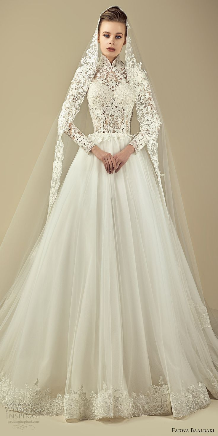 fadwa baalbaki spring 2017 couture illusion long sleeves high neck lace a line wedding dress (11) mv -- Fadwa Baalbaki Spring 2017 Couture Dresses