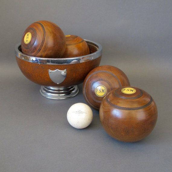 Pair of Vintage Lawn Bowls from England Lignum by FanshaweBlaine