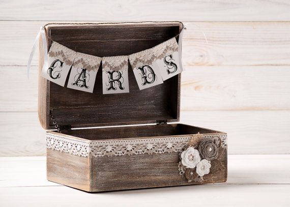 Rustic Wedding Cards Box Holder with Burlap by HandmadeDecoupage