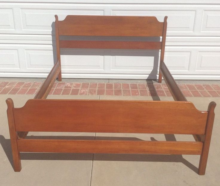 MidCentury Modern Danish Vintage Full Double Bed Frame Headboard Footboard and rails (wood cross slats also included) Maple color. In nice vintage shape. Present your best items with Auctiva's FREE Scrolling Gallery.