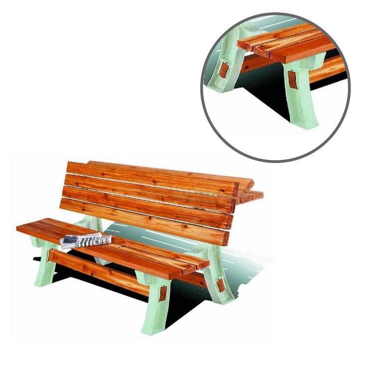 Resin Patio Bench Table Garden Durable Yard Seat Flip Top Backyard Furniture  #ResinPatioBenchTable