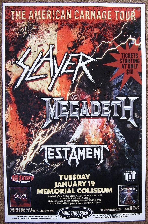 Music Posters - Posters Rock/Pop Gig Q-Z - SLAYER & MEGADETH 2010 Gig POSTER Portland Oregon Concert American Carnage Tour