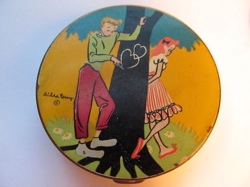 Hilda Terry powder compactTerry O'Neil, Hilda Terry, Artists Hilda, Body Art, Terry Powder, Powder Compact, 1940S Hilda, Face Powder, Novelty Powder
