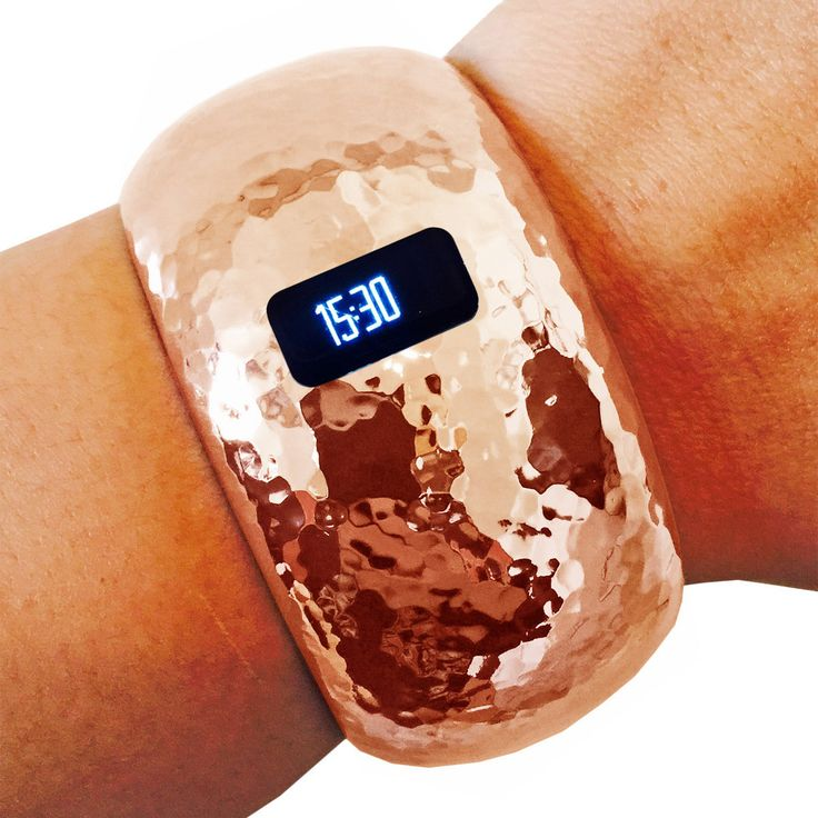 Fitbit Bracelet for Fitbit Charge or Charge HR Fitness Trackers - The BRIANNA INSIGHT Hammered Rose Gold Hinge Bangle Fitbit Bracelet by Funktional Wearables