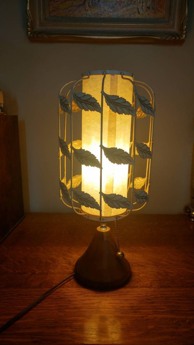 Gorgeous Mid Centuty Modern Wood and Metal Leaves Working Lamp