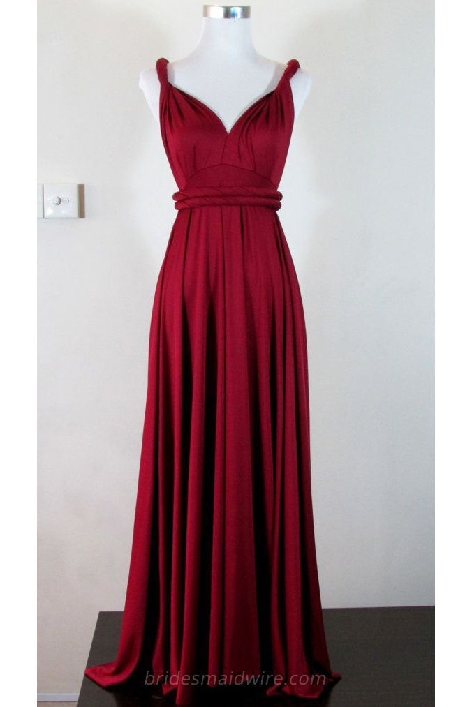 Dark red chiffon dress with a long pleated skirt, wrap twisted design together with unique v neck, two weaved strings attached at natural waist.