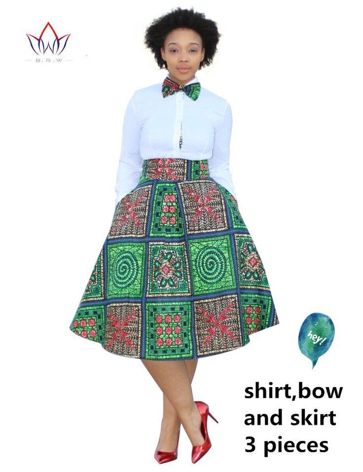 2017 عيد اللباس زائد الحجم 2 أجزاء الطباعة dashiki الأفريقية قميص تنورة مجموعة بازان rche فام أفريقيا الملابس 5xl الطبيعية WY773