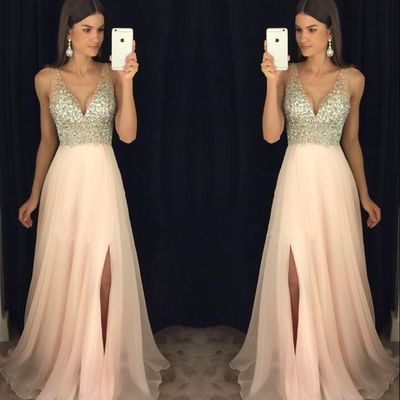 New arrival prom dress,modest prom dress,sparkly crystal beaded v neck open back long chiffon prom dresses 2017