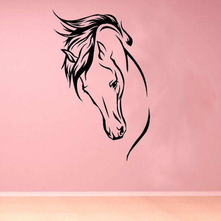 Elegant Horse Head Beautiful Animal Wall Sticker Decor Design Girls Room R33