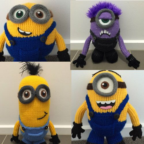 A personal favourite from my Etsy shop https://www.etsy.com/au/listing/293354235/all-four-minion-knitting-patterns-pdf