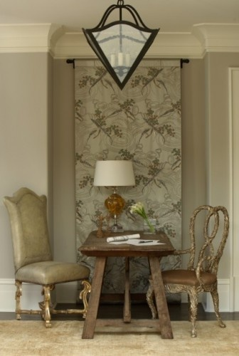 Note to self:  wall color is Benjamin Moore Revere Pewter and trim is BM White chocolate.  The tapestry is a nice idea...