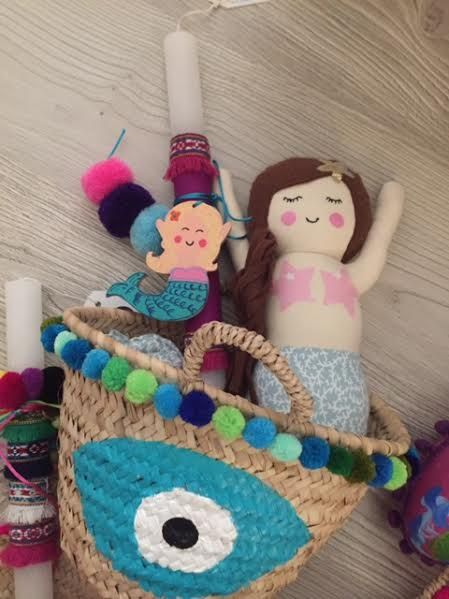 cotton prince personalized Easter gifts. Mermaid candle and evileye straw basket