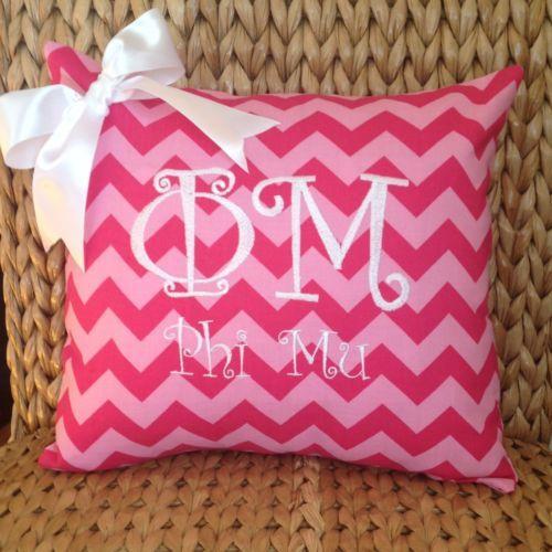 PHI MU Pillow Cover Greek Letters Sorority Pink Chevron White Curly Letters | eBay phi mu pillow