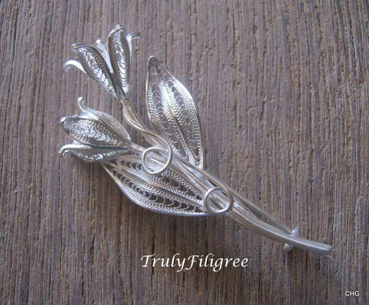Flower Brooch, Silver Filigree Brooch, Filigree Flowers Brooch, Unique Brooch