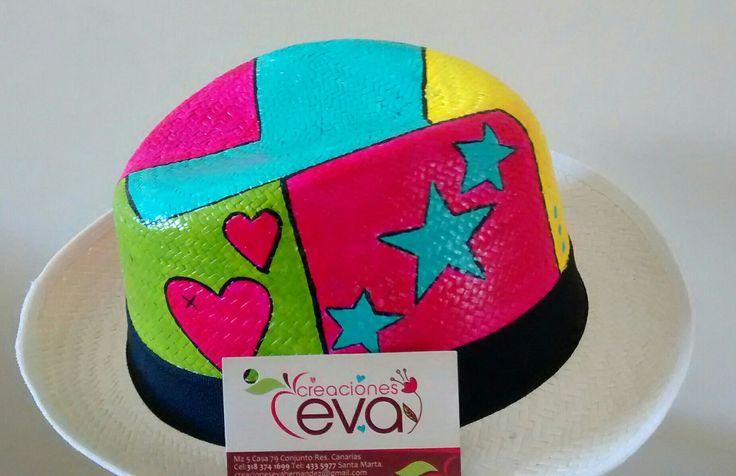 Sombreros pintado a mano arte pop.