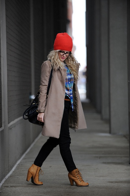 Love pretty much everything about this outfit. Pop of color with the red beanie, those brown booties <3, plaid and a gorgg coat to top it all off :)