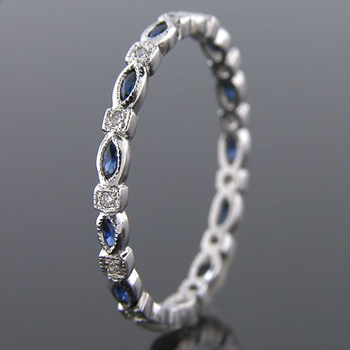 704S-420P Vintage inspired marquise sapphire with diamond platinum Mini wedding eternity band