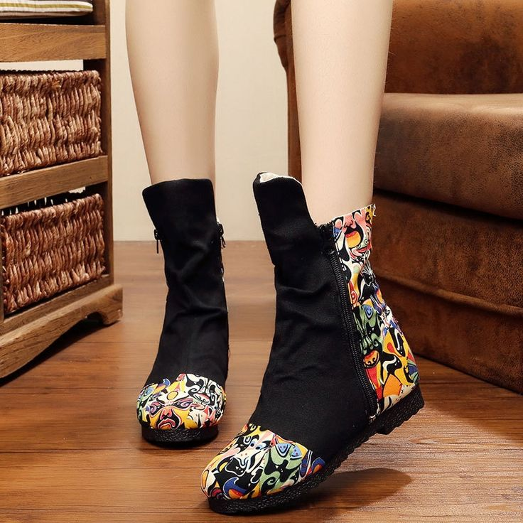 27.63$  Watch more here - http://aivot.worlditems.win/all/product.php?id=32726436156 - Autumn Winter Embroidery Boot Old Beijing Peking Opera flower Print soft bottom boots women mujer zapatos mujer Black Red