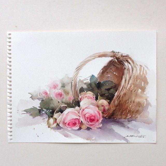 Love in bucket. #watercolor #art #artist #paint #painting #rose #roses #pink…