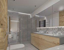 Projekt wnętrza domu w Żarach - Średnia łazienka w domu jednorodzinnym bez okna, styl nowoczesny - zdjęcie od KADA WNĘTRZA S.C