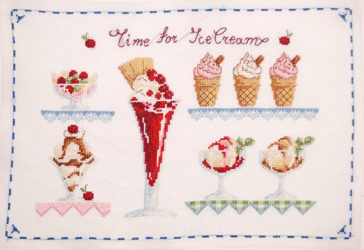 Ice-cream finished cross stitch, Hand embroidered home decor, Cottage chic wall decor, Red, Green, Blue, House warming gift, by MeandMamaCreations on Etsy