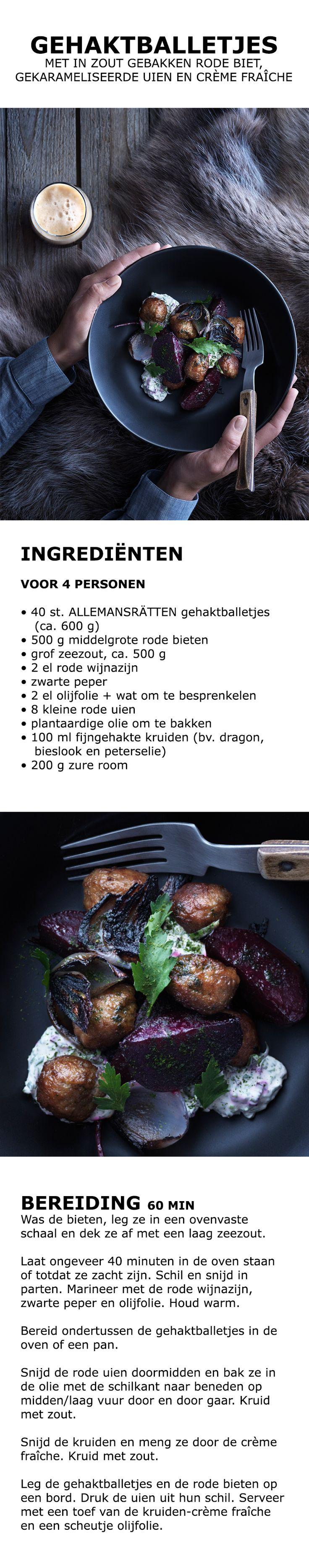 Inspiratie voor de feestdagen - Gehaktballetjes met in zout gebakken rode biet, gekarameliseerde uien en crème fraîche | IKEA IKEAnederland koken keuken recept herfst winter kerst diner lunch bieten rode ui kruiden