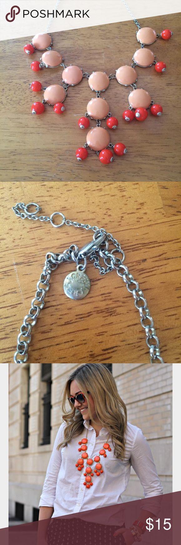 J.Crew statement bubble necklace orange coral JCREW JEWELRY • STATEMENT NECKLACE  • SILVER AND ORANGE J. Crew Jewelry Necklaces