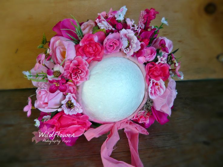 "Floral Bonnet. photography props. ""Passionate Pink"" Design & created by Wildflower Photography Props"