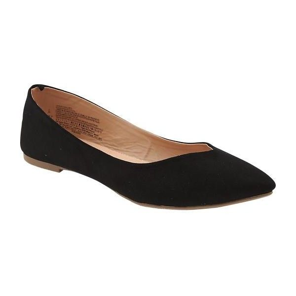 Old Navy Womens Faux Suede Pointed Ballet Flats ($19) ❤ liked on Polyvore featuring shoes, flats, black, ballet flat shoes, pointy flats, black ballet pumps, black pointy toe flats and black ballet shoes