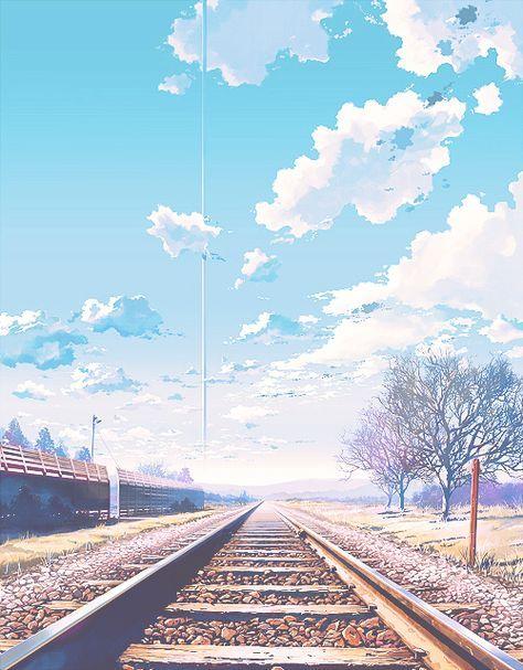 grafika anime, sky, and clouds