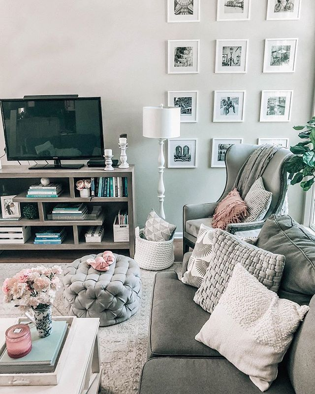 Grey And White Living Room With Pops Of Pink And Blue Grey