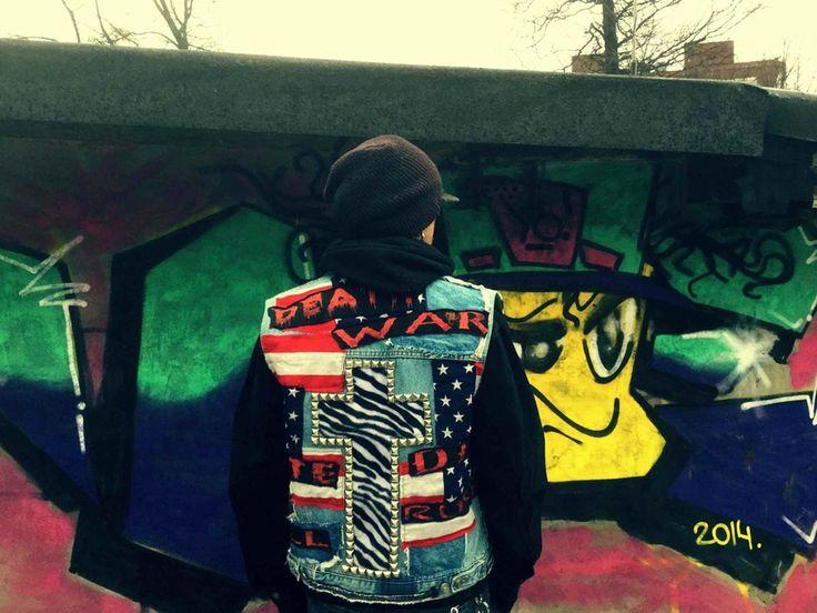 One-of Custom Punk Denim Jacket  Studded Zebra Cross back  Handmade Distressed & Frankenstitched details  Vintage Denim Body / Black sleeves  Embroidered Horror Movie patches
