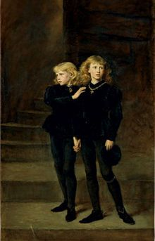 Edward & Richard ~ the 'Princes in the Tower'. These two boys were, in fact Edward V (uncrowned king of England) and his younger brother Richard, the only two surviving sons of the late Edward IV. History (and the Tudors) tell us that the boys were murdered some time after 1483 while resident in the Tower of London, and give the likely culprit as their uncle, King Richard III. Historians continue to debate the issue; I point the finger at Henry VII!  From Rob.  Totally agree.