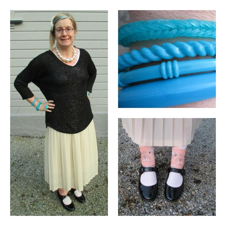 Floaty Flirty: crepe pleated skirt and sequin sweater (thrifted) shoes, bunny socks, Marge Simpson pearl beads (all retail), bangles (all thrifted), rainbow loom band bracelet made by my 12 yo.