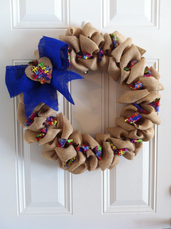 Burlap Autism Awareness Wreath $30.00....this needs to go in my house