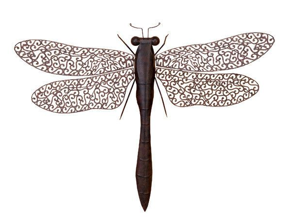 "LARGE 37"" DRAGONFLY Outdoor METAL Insect Wall ART Decor"
