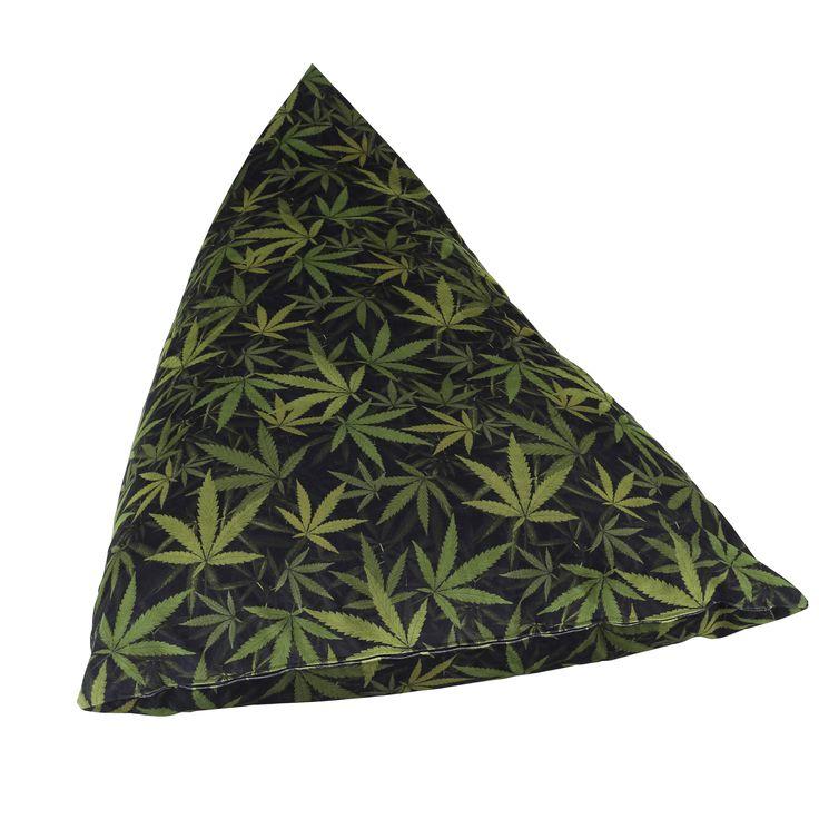 Mary Jane Furniture Big Fatty Black and Green Marijuana Botanical Print Huge Bean Bag (Indica Dark), Size Extra Large (Foam)