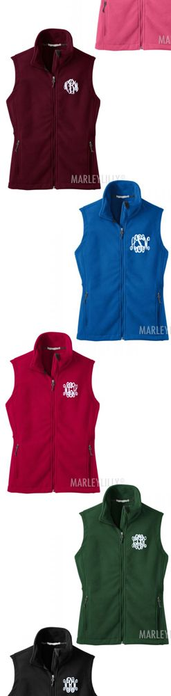 Monogrammed Fleece Vest ready for Fall! From Marleylilly.com