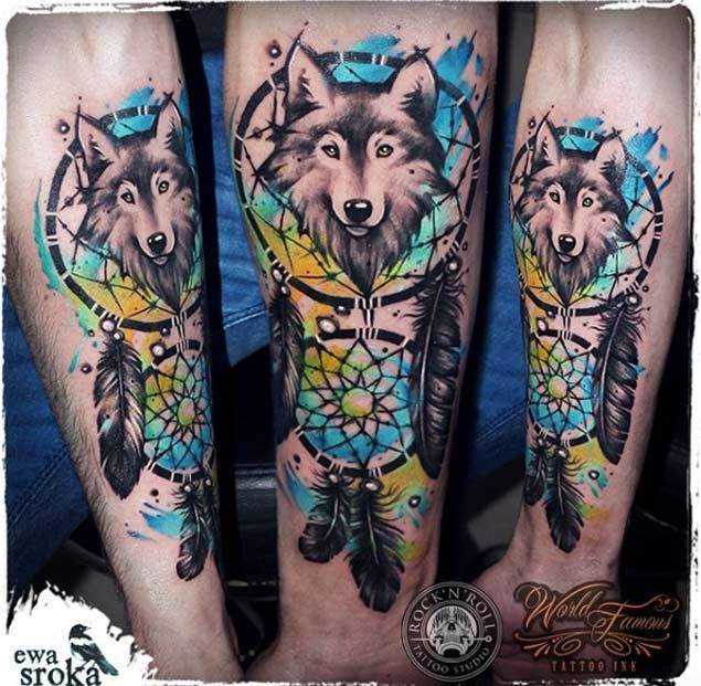 Watercolor Wolf Dreamcatcher Tattoo