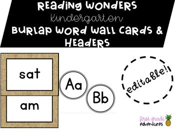 Burlap word wall cards to be used with the McGraw-Hill Reading Wonders series for kindergarten. This packet contains all 40 high frequency words taught throughout the duration of the 10 unit program. This pack also includes black word wall headers!