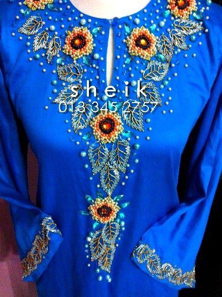 Sheik * sulam manik: Bunga Matahari dan Dedaun